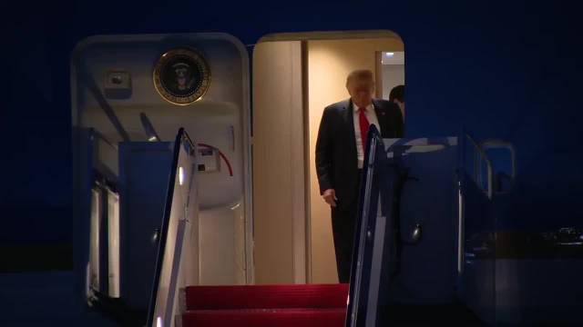 特朗普从佛罗里达州返回华盛顿安德鲁空军基地