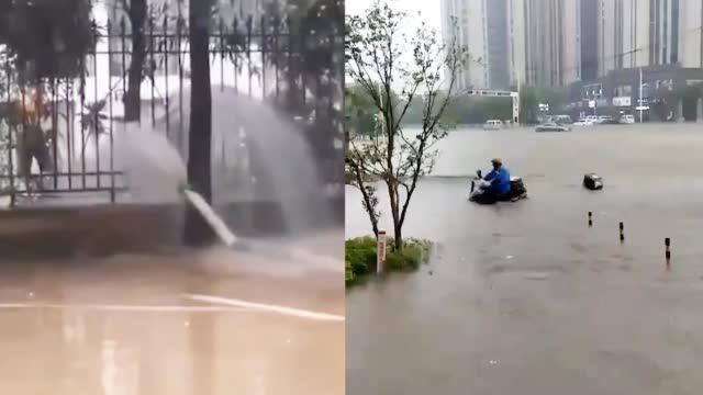 南昌暴雨积水严重 相邻两小区互相抽水排到对面:现实版水池问题