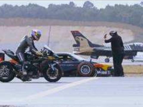 能干掉川崎H2R的车应该是没有了,战斗机,F1赛车超级跑车都不行