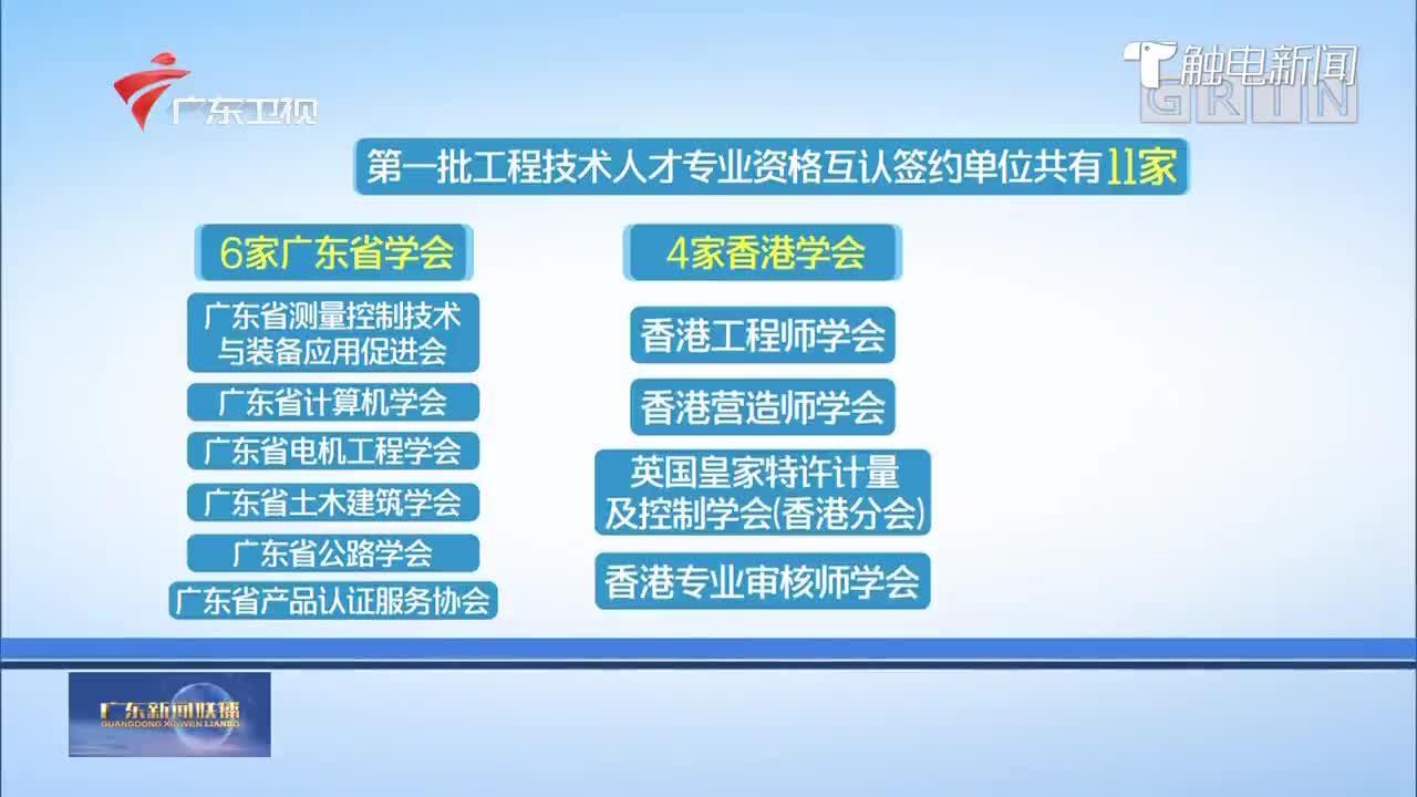 粤港澳大湾区4专业试点工程技术人才专业资格互认
