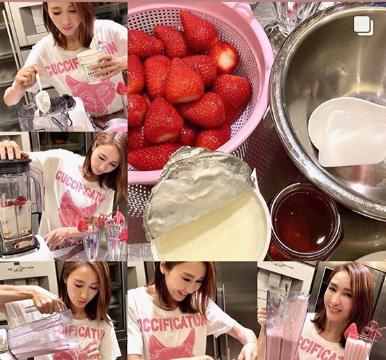 48岁黎姿变身美女厨神,家中为女儿们做饮品,获认可满脸幸福