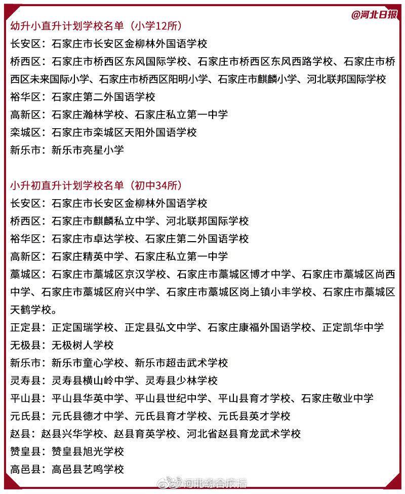石家庄公布有直升计划的46所民办学校名单!