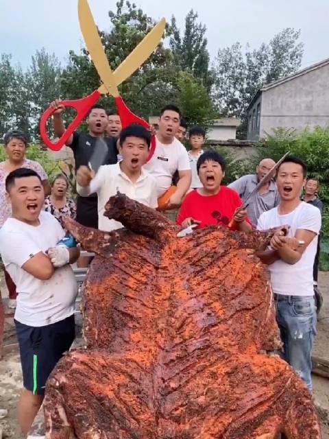 吃货张磊吖农村孩子王:请全村人吃烤全驴