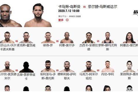 盘点UFC251,UFC拿出新冠疫情之下的最强阵容