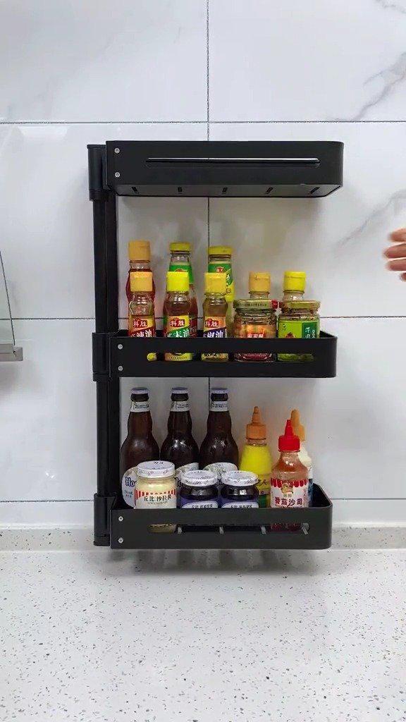 厨房调料瓶置物架。不占空间还整齐有序