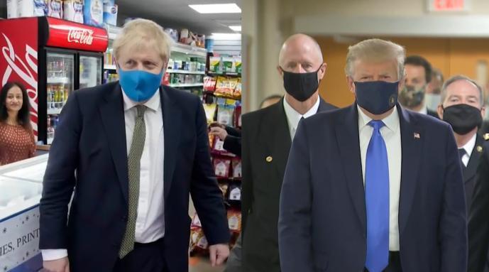 和特朗普步调一致!英国首相戴口罩参观商店