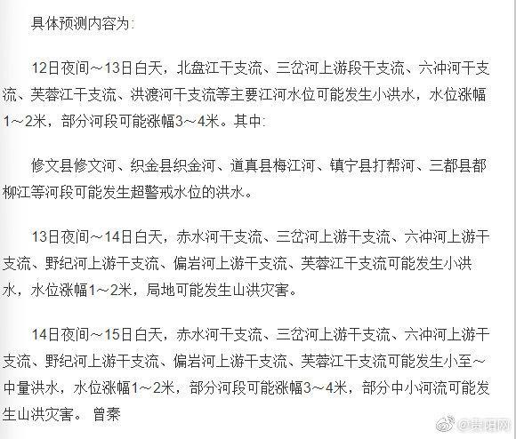 7月12日,贵州省水文水资源局发布的未来三天全省水情预测显示……