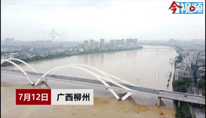 洪峰过境,柳州沿江区域汪洋一片
