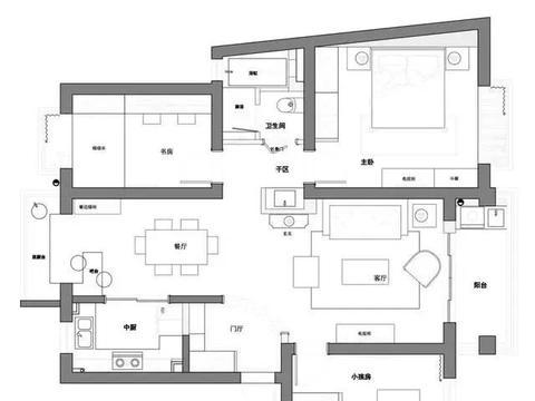 100平清新美式3居,原来玄关还能这样装,蓝白色书房卧室美极了