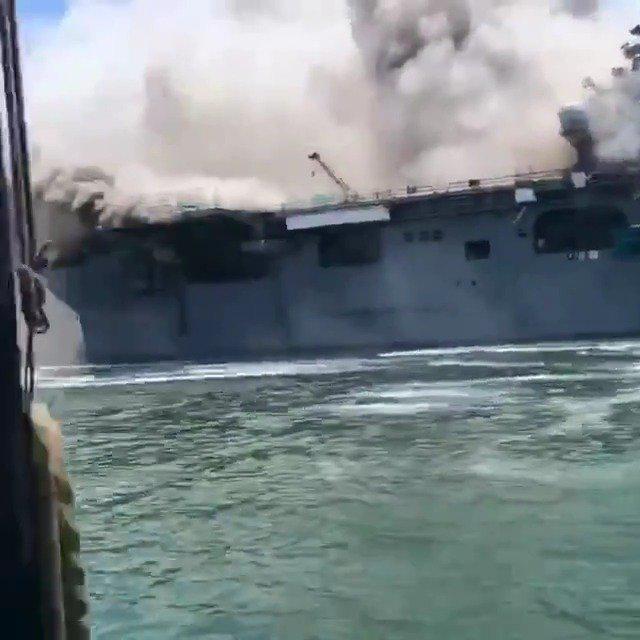 """发生大火的LHD-6""""好人理查德""""号两栖攻击舰……"""