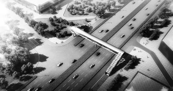 长春市西四环路(车城万达段)人行过街天桥即将竣工