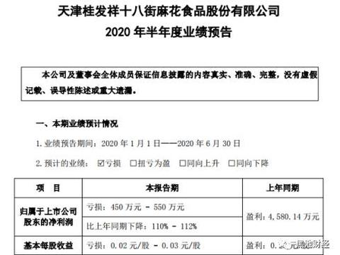 天津大麻花也不香了?桂发祥上半年净利预降110%