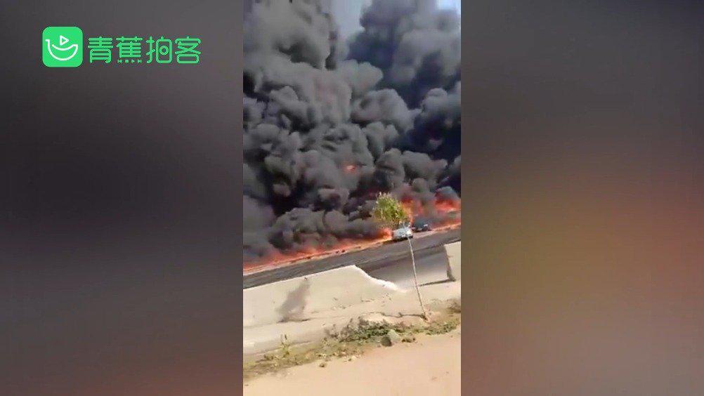 埃及一石油管道破裂原油泄漏引发严重火灾