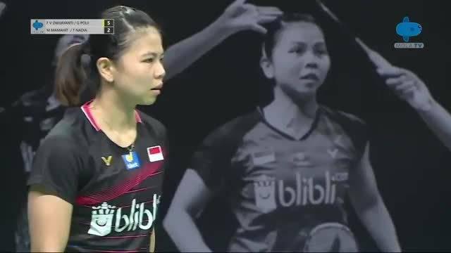 波莉这个正手发球看来也不打算改了 印尼女双队内赛
