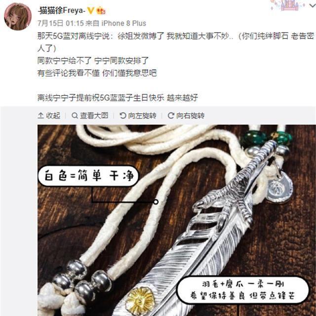 宝蓝开播感谢宁王送的礼物,是他的同款项链,一问价格粉丝懵了