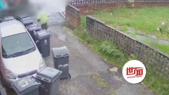 私家车被11个垃圾桶包围 车主怒曝监控讨公道