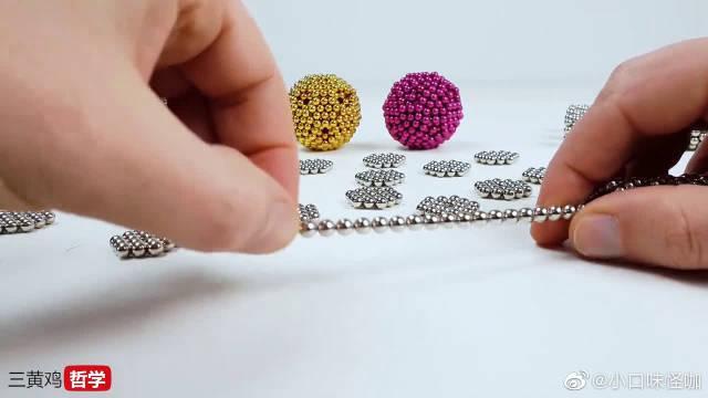 用巴克球做出双螺旋结构的DNA,这哒哒哒的声音,舒爽~