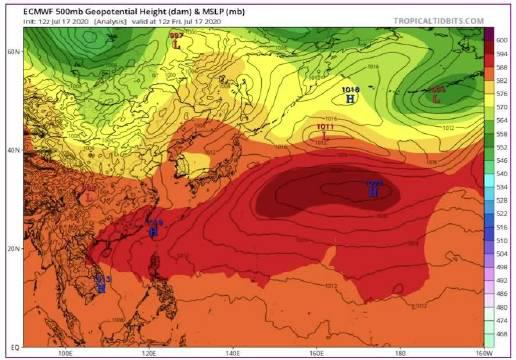 视频中深红色的就是 今年早泄ED的副热带高压 左上角可以看到预测