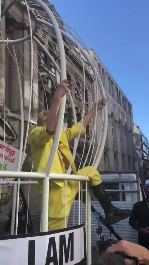 西太后 Vivienne Westwood 装扮成一只关在鸟笼的金丝雀……