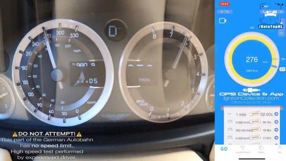 视频:阿斯顿·马丁 Rapide V12 0-278km/h加速 极限没有想象的快……