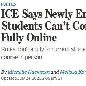 美国移民局:所有新生,纯网课一律无法入境!