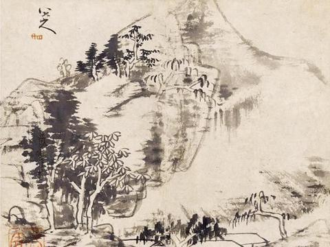 墨点无多泪点多,八大山人绘小品画一帧《溪山无尽》