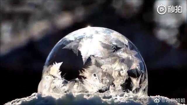 零下35度肥皂泡结冰全过程,真是美轮美奂!