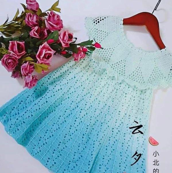 云夕:夏季女童短袖钩针公主裙(有编织图解)