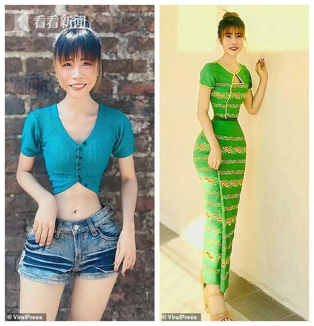 缅甸姑娘腰围34.8厘米差点破世界纪录 自称饮食健康 沙漏身材天生