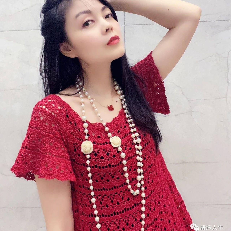 玫瑰:夏季短袖钩针连衣裙(有编织图解)