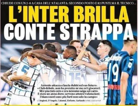 这让孔蒂与国米的关系陷入竞争,这位固执的意大利教练有可能会离开俱乐部