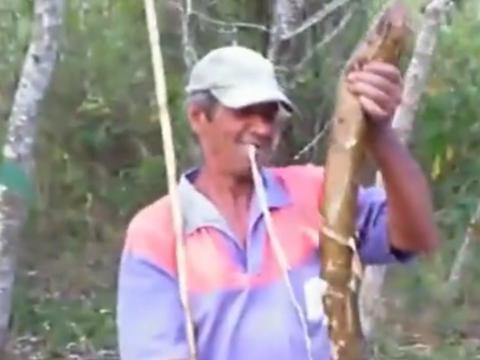 农村男子钓鱼,竟钓上超大黄鳝,三条就能装满一塑料桶!