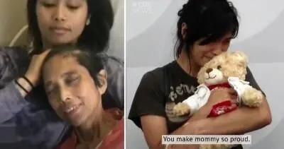 女子怀抱被偷后找回的泰迪熊哭泣 里面录有已故妈妈的声音