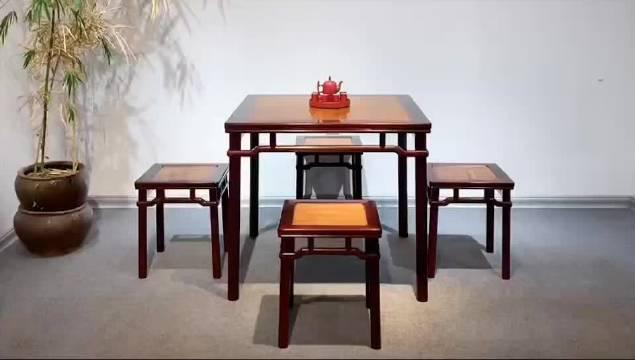 圆包圆罗锅枨方桌(五件套) 印度小叶紫檀镶黄花梨面板 规格:90
