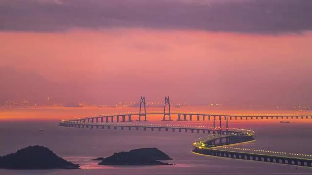 港珠澳大桥的延时拍摄