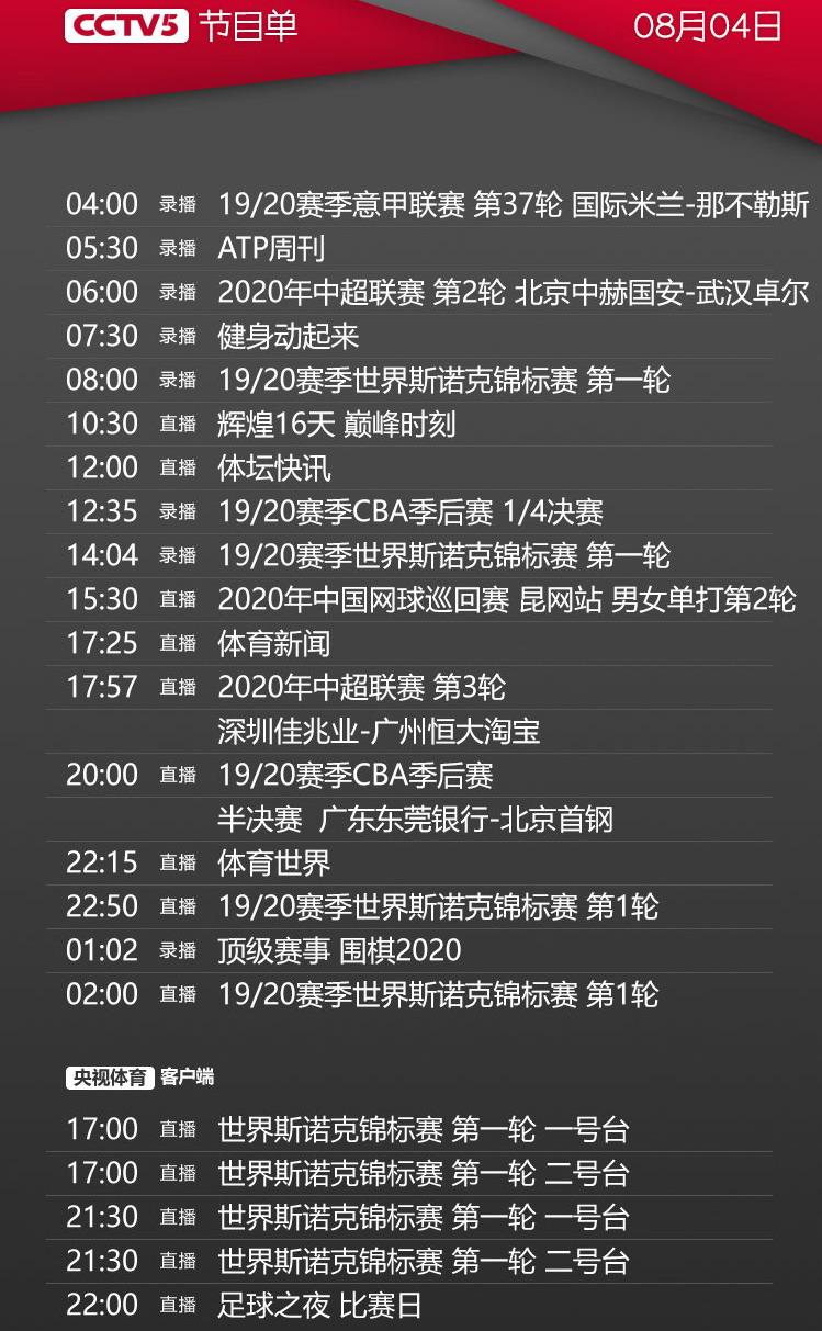 央视今日节目单,cctv5直播中超恒大vs深圳+cba半决赛广东PK首钢