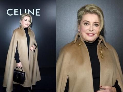 76岁凯瑟琳·德纳芙身材圆润显富态!年轻时候美貌过人,穿搭时髦