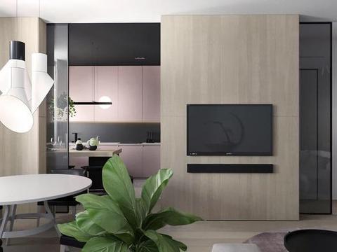 现代简约风装修,粉色与灰色搭配,看一眼就喜欢,这个家太美了