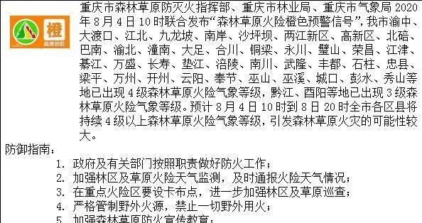 重庆发布2020年首个森林草原火险预警