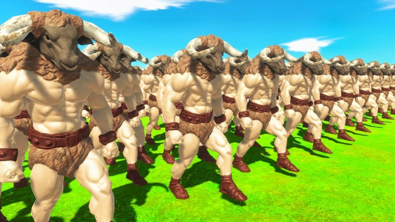 生物对战模拟器:打群架牛头哥很猛的,基本没输过,我太小看它了