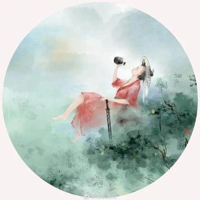绝美!85后插画师将山水中国风画上扇面,他的笔下,是个诗意的世界