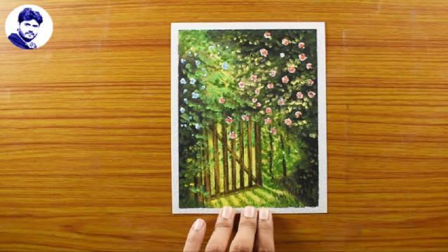 油画棒教程《通向蔷薇花园之门》……