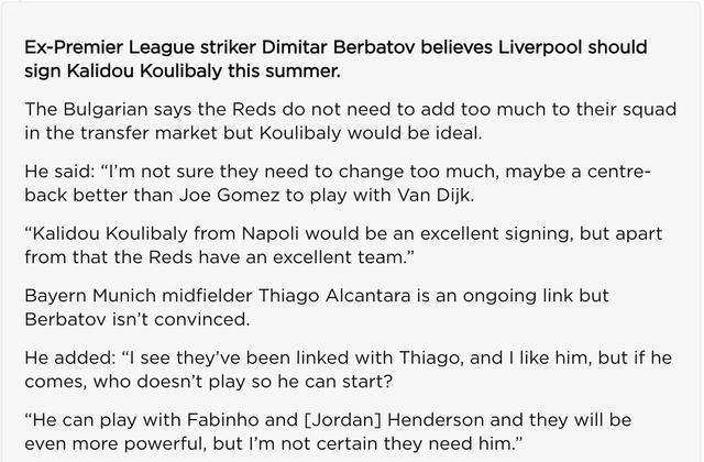 后防将签下2人,贝巴建议追9千万中卫,利物浦防线世界独一档