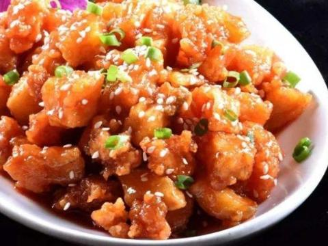 美食精选:蜜汁里脊、糖醋桂鱼、丝瓜菌菇炖、鸡蛋炒虾仁