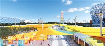 """2020年服贸会室外暂时场馆""""迎宾门""""表示图。图/北京市商务局"""