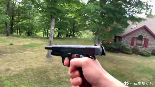 手枪户外靶场射击实测,论威力还是黄金沙鹰手枪,无人能比啊