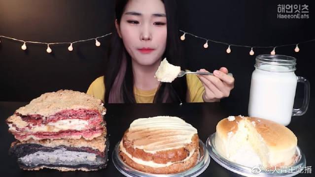 美女今天吃奶酪胡萝卜蛋糕和面包甜点!