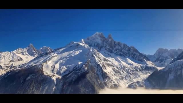 阿尔卑斯最高峰,航拍勃朗峰,法国霞慕尼——欧洲滑雪圣地……
