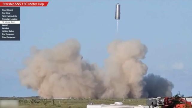 没有 不可思议!星舰SN5原型跳跃测试 不锈钢桶在空中飞行150米