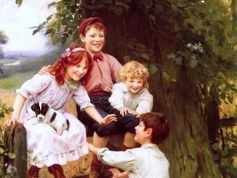 享受英国画家亚瑟,埃尔斯李的作品:顽皮的男孩和女孩